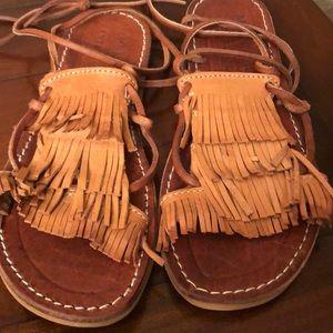 Anthropologie  Fringe Ankle Wrap Flat